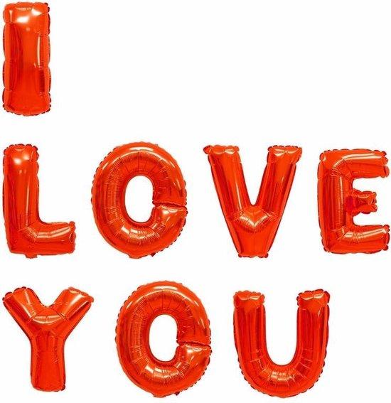 Rode folie ballonnen I LOVE YOU letters - Valentijnscadeau