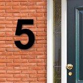 Huisnummer Acryl zwart, cijfer 5, Hoogte 16cm | Huisnummer plexiglas | Huisnummer modern | Huisnummer kopen | Topkwaliteit | Gratis verzending!