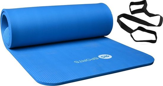 Fitnessmat / trainingsmat NBR RS Sports l blauw l 180 x 60 x 1,5 cm