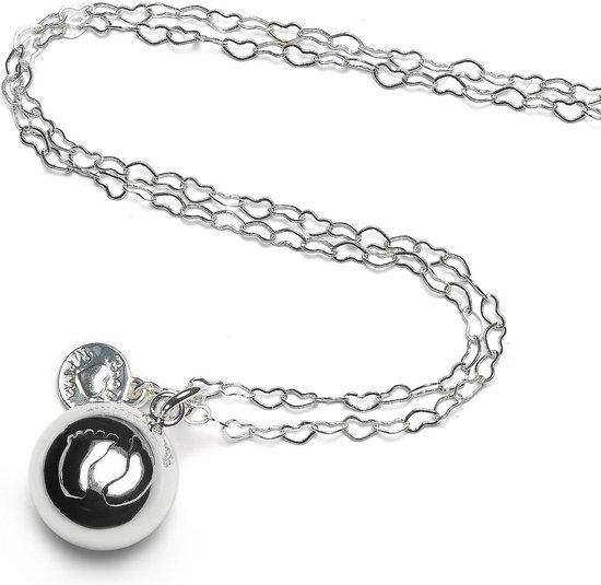 Product: Proud MaMa zwangerschapsketting Babybell Heartchain voetjes zilver, van het merk Proud MaMa