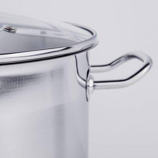 Haushalt Soeppan met glazen deksel - 10 liter- RVS