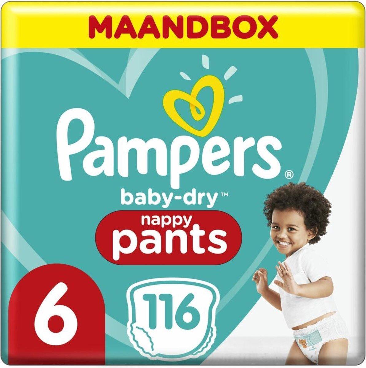 Pampers Baby-Dry Pants Luierbroekjes - Maat 6 (15+ kg) - 116 stuks - Maandbox