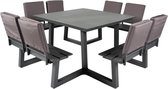 MaximaVida vierkante aluminium picknicktafel Dex 215 cm antraciet - 4 rugleuningen