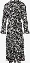 Jazlyn lange dames jurk met bloemenprint - Zwart - Maat L