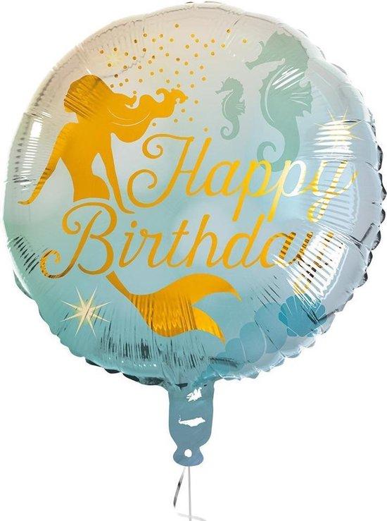 Boland Folieballon Happy Birthday Zeemeermin 45 Cm Blauw