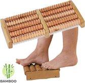 Decopatent® Dubbele Voetroller voetmassage apparaat - Betere Bloedsomloop in 2 Voeten - Bamboe - Voet massage Voetroller 2 voeten
