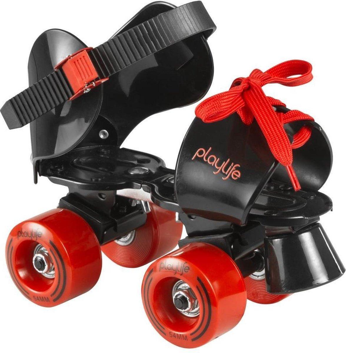 Playlife Rolschaatsen - Maat 28-32Kinderen - Zwart - Rood Verstelbare maat 28-37