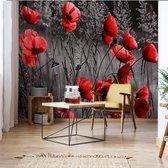Fotobehang Red Poppies Black And White | VEA - 206cm x 275cm | 130gr/m2 Vlies