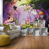 Fotobehang Unicorns And Fairies In The Forest | V4 - 254cm x 184cm | 130gr/m2 Vlies