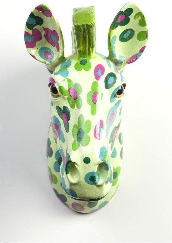 Pomme Pidou Aniwalls dierenkop zebra Ziggy - Licht groen met bloemen