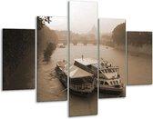 Glasschilderij Boot   Grijs, Wit   100x70cm 5Luik   Foto print op Glas    F002992