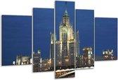 Glasschilderij Gebouw | Grijs, Bruin, Blauw | 170x100cm 5Luik | Foto print op Glas |  F002813