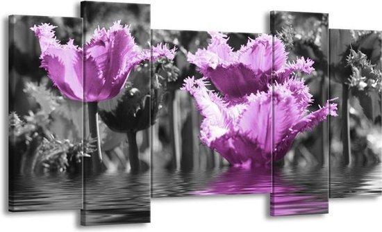 Canvas schilderij Tulpen | Zwart, Paars, Grijs | 120x65 5Luik