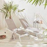 ELSA - Set van 2 ligstoelen van aluminium en textileen, ligbed multipositioneel met wieltjes, kleur wit/taupe