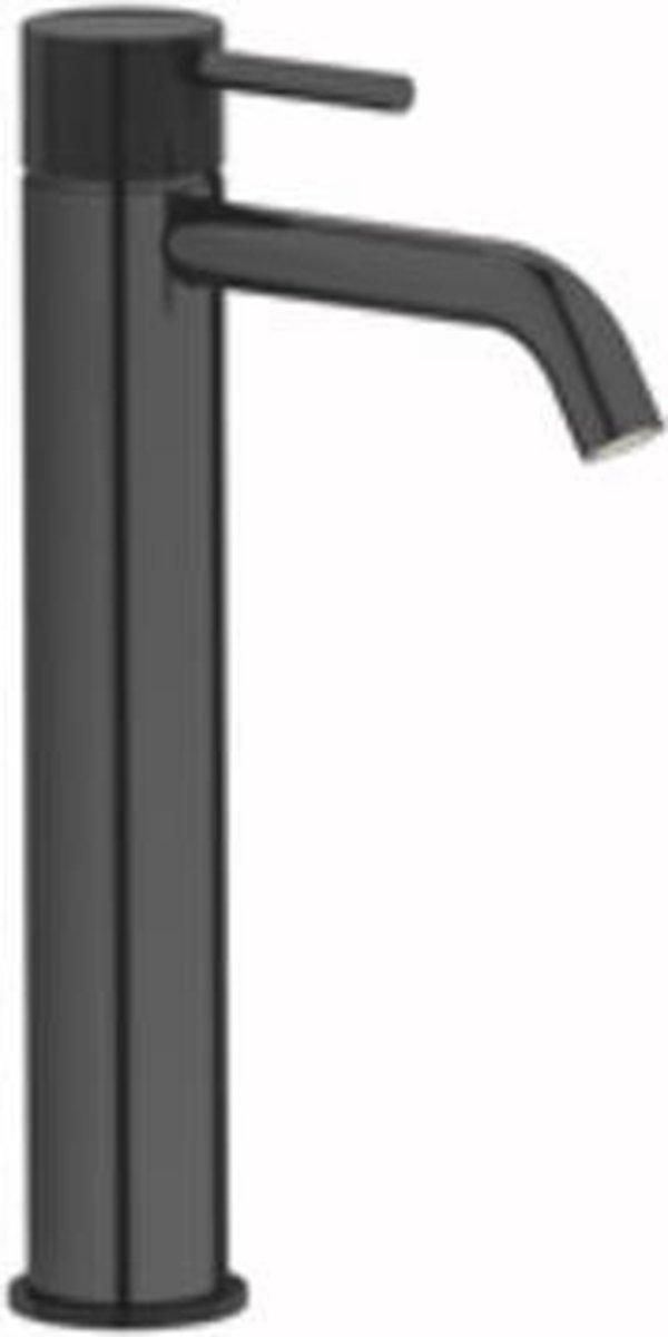 Plieger Roma 1-gats wastafelkraan verhoogd met waste 27.2cm zwart chroom