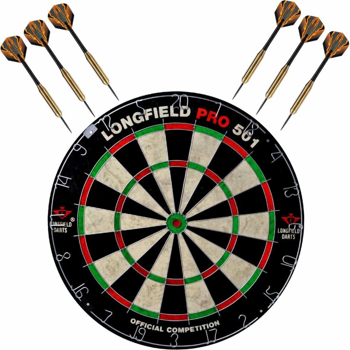 Dartbord set compleet van diameter 45.5 cm met 6x Club Brass dartpijlen van 22 gram - Professioneel darten pakket