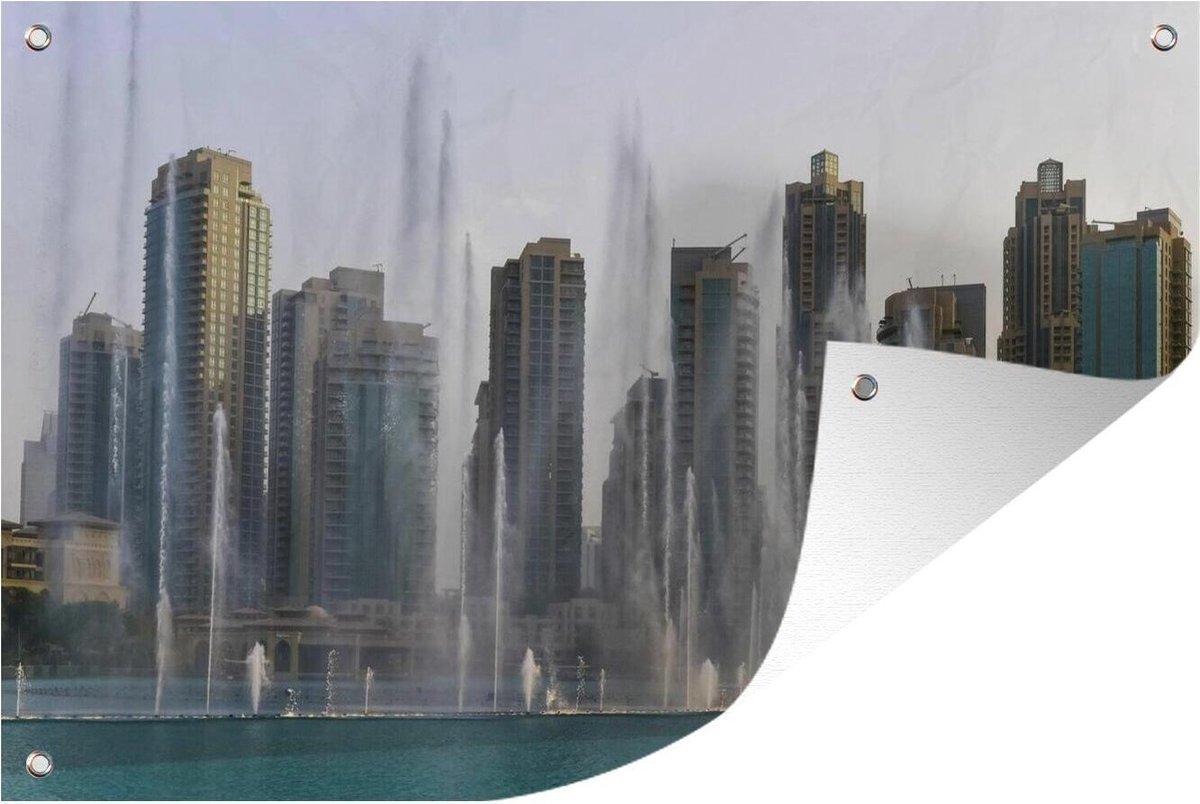 Tuinposter Dubai Fontein - Dubai fontein spuit water tuinposter los doek 90x60 cm - Tuindoek/Buitencanvas/Schilderijen voor buiten (tuin decoratie)