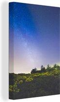 Melkweg boven het Nationaal park Sierra de Guadarrama in Spanje Canvas 20x30 cm - klein - Foto print op Canvas schilderij (Wanddecoratie woonkamer / slaapkamer)