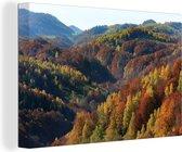 Herfst landschap van bergen en bossen in het Nationaal park Piatra Craiului Canvas 60x40 cm - Foto print op Canvas schilderij (Wanddecoratie woonkamer / slaapkamer)