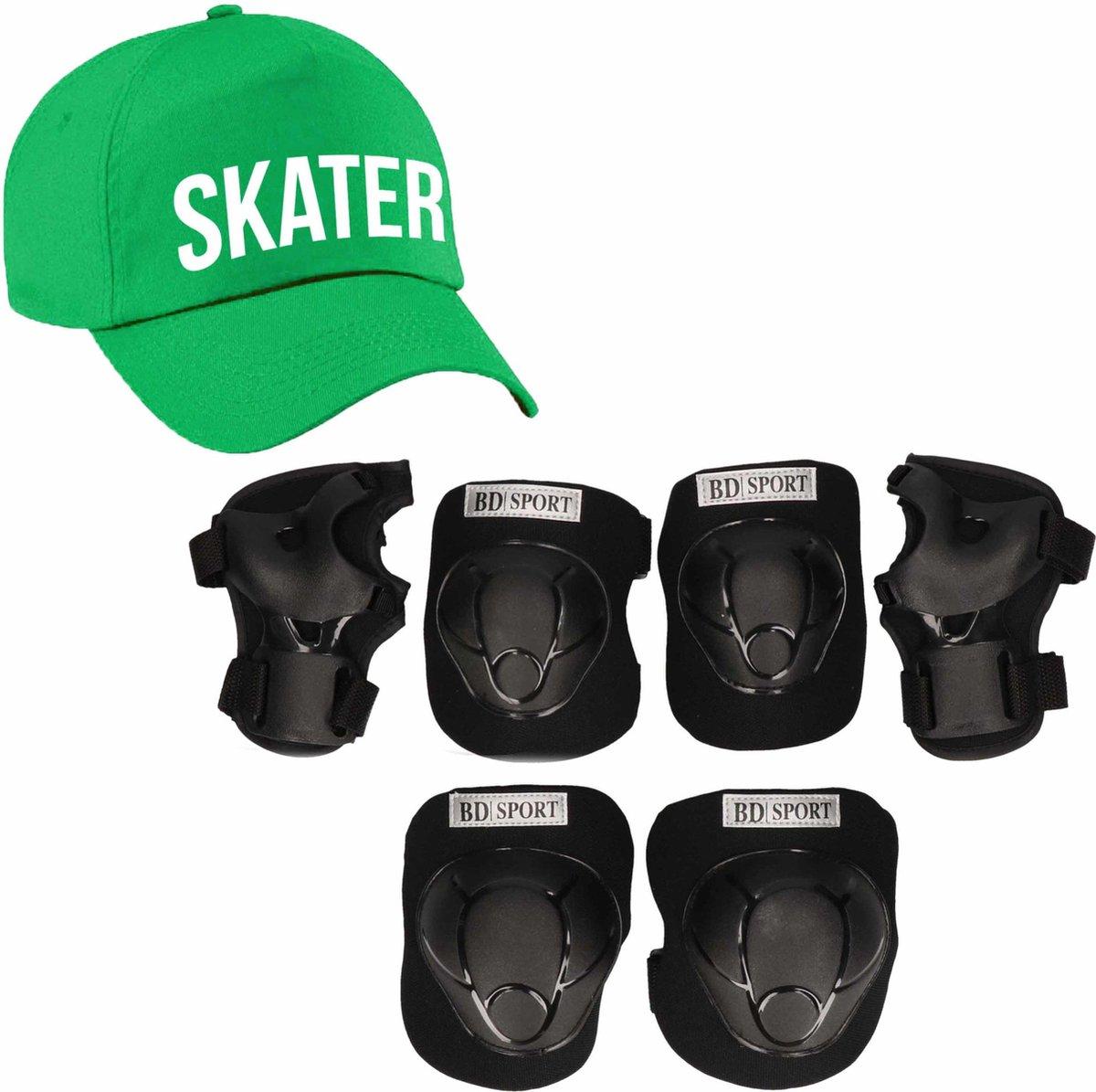 Set van valbescherming voor kinderen maat M / 6 tot 8 jaar met een stoere SKATER pet groen