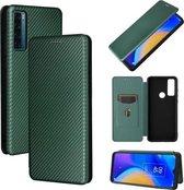 Voor TCL 20 SE Carbon Fiber Textuur Magnetische Horizontale Flip TPU + PC + PU Leather Case met Card Slot (Groen)