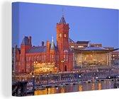 Gebouw bij de pier in het Britse Cardiff Canvas 60x40 cm - Foto print op Canvas schilderij (Wanddecoratie woonkamer / slaapkamer) / Europese steden Canvas Schilderijen