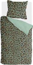 Byrklund Lazy Leopard - Dekbedovertrek - Eenpersoons - 140x200/220 cm  cm - Groen