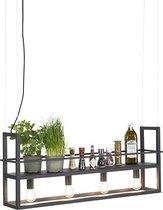QAZQA Cage Hanglamp - 4 lichts - L 1015 mm - Zwart