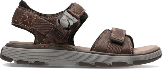 Clarks Un Trek Part Heren Sandalen - Dark Tan Lea - Maat 42.5