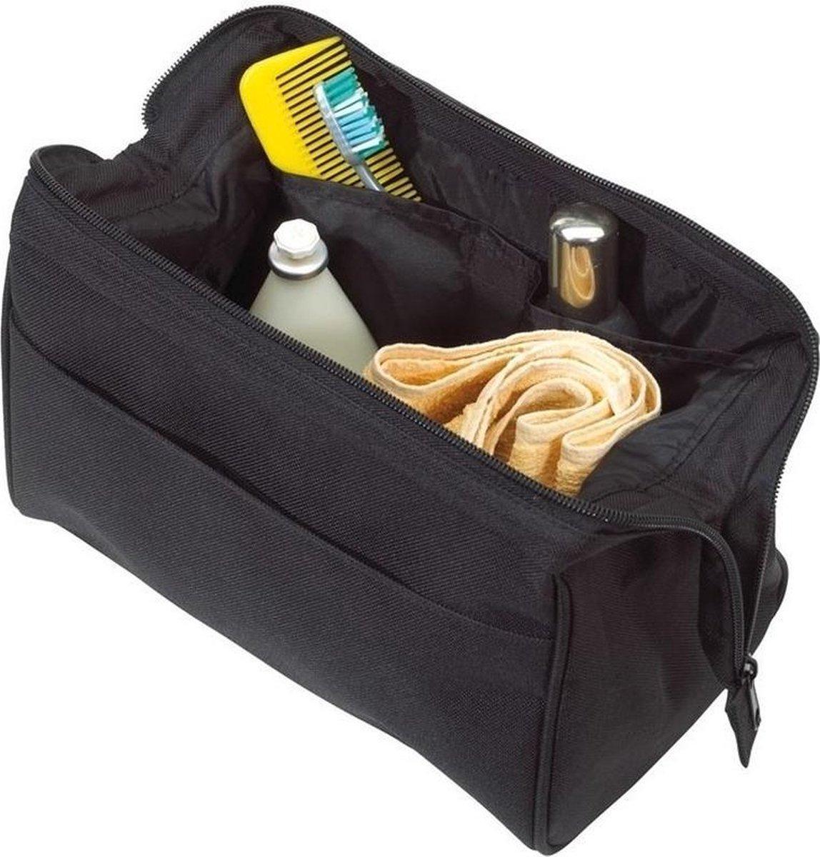 Stevige toilettas/make-up tas zwart met metalen scharniersluiting 25 cm voor heren/dames - Reis toil