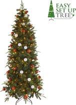 Kerstboom Easy Set Up Tree® LED Avik Decorated Red - 180 cm - Incl. versiering - 240 Lampjes
