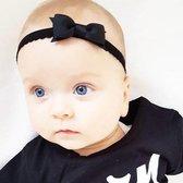 Zwart newborn baby haarbandje kant met strik | Zwart | Baby