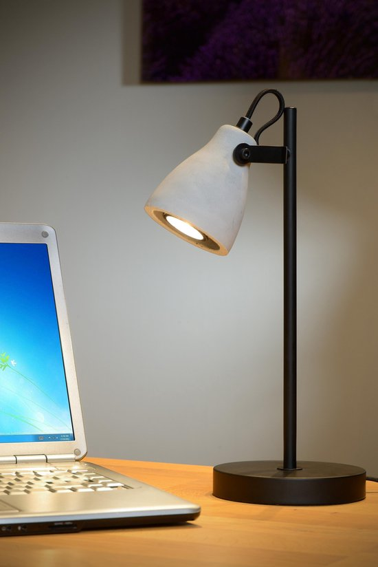 Lucide CONCRI-LED - Bureaulamp - Ø 15 cm - LED - GU10 - 1x5W 3000K - Zwart - Lucide