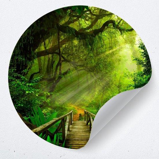 Muurcirkel jungle | Zelfklevende behangcirkel | woonkamer muur decoratie accessoires | rond kunstwerk
