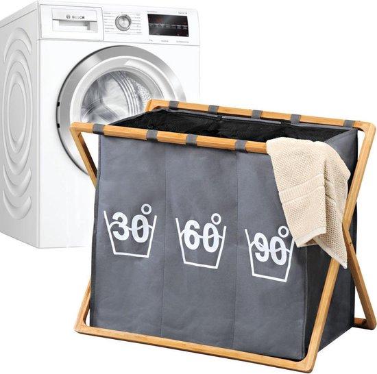 Wassorteerder 3 Vakken - Wasmand FSC® Bamboe houten Frame - Sorteer op 30° 60° 90° - Grote opvouwbare wasmand met 3 Vakken - 141 L