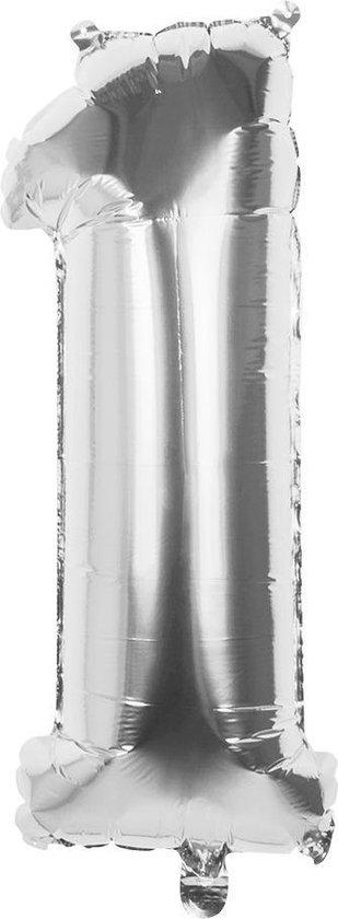 Boland Cijferballon 1 Folie 66 Cm Zilver