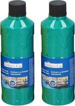 2x Hobby/knutsel acrylverf / temperaverf - Groen - Fles 250 ml - Groene tempera / acryl verf - Hobby/knutselmateriaal - Schilderij maken - Verf op waterbasis
