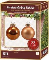 Glazen Kerstballen set 72-delig oranje - Kerstboomversiering oranje