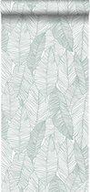 ESTAhome behang getekende bladeren groen - 139010 - 0.53 x 10.05 m