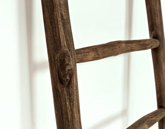 Teakhouten decoratieladder | Rustiek Bruin| 50 x 5 x 150 cm - Deviana