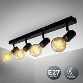 B.K.Licht - Plafondlamp - 4 lichts -draaibaar - Zwart