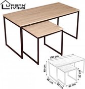 Urban Living 2-delig Salontafel & Bijzettafel - Industrieel design - MDF Hout - Metalen frame