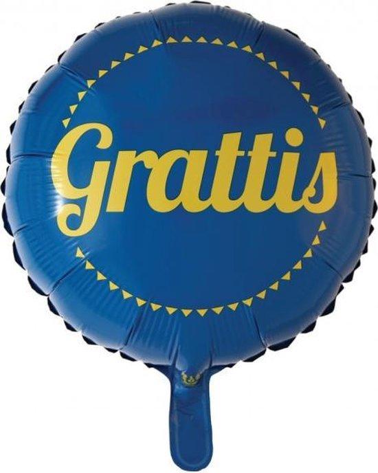 Globos Folieballon Gefeliciteerd 45,5 Cm Blauw/geel