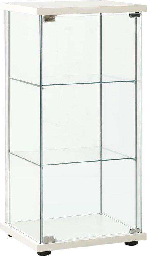 vidaXL Vitrinekast gehard glas wit