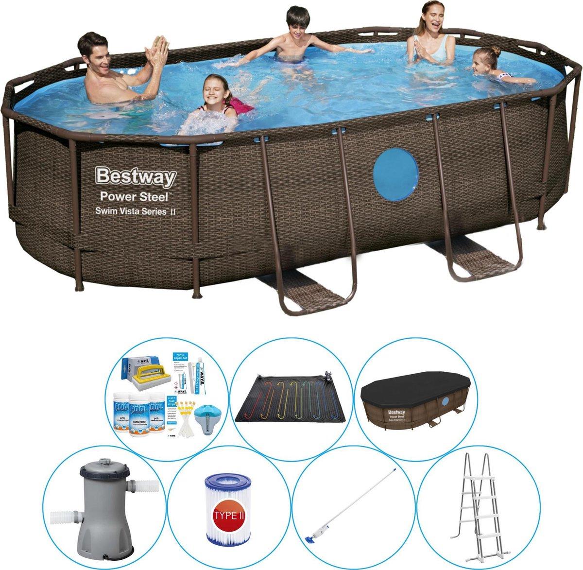 Bestway Power Steel Swim Vista OVAAL 427x250x100 cm - Zwembad Inclusief Accessoires