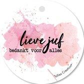Tallies Cards - kadokaartjes  - bloemenkaartjes - Lieve Juf - Aquarel - set van 5 kaarten - bedankkaart - bedankt - 100% Duurzaam