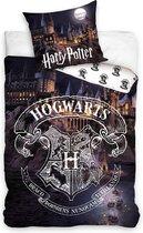 Harry Potter Hogwarts By Night Dekbedovertrek - Eenpersoons - 140x200 cm - Multi