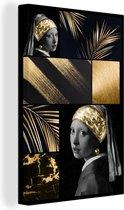 Canvas Schilderijen Collage - Zwart - Goud - Meisje met de parel - 80x120 cm - Wanddecoratie