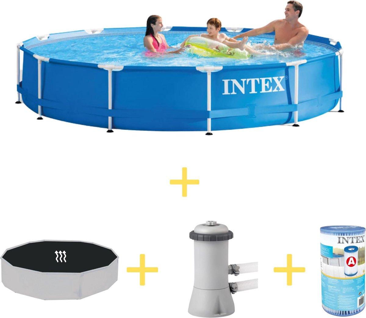 Intex Zwembad - Metal Frame - 366 x 76 cm - Inclusief Solarzeil, Filterpomp & Filter