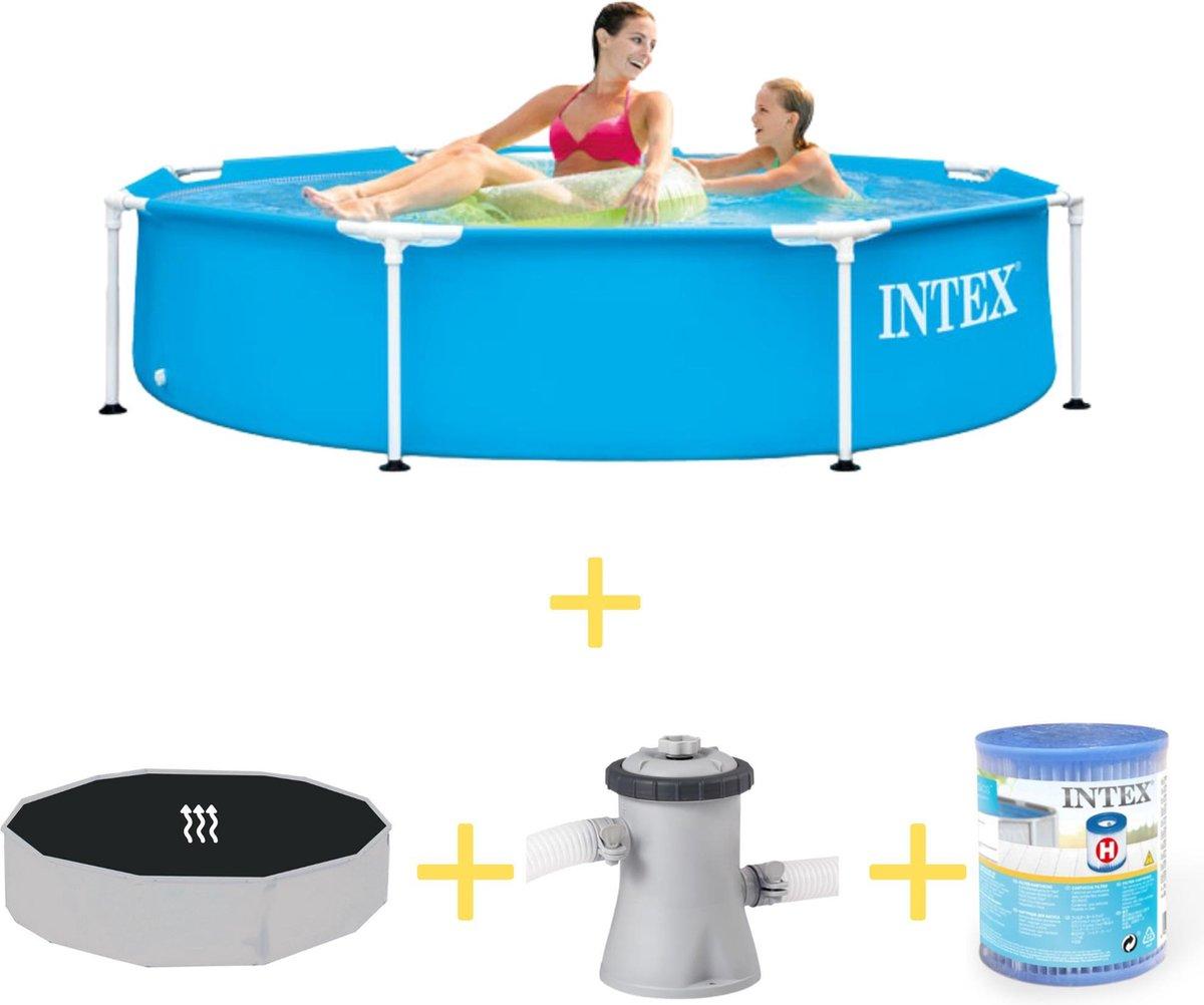 Intex Zwembad - Metal Frame - 244 x 51 cm - Inclusief Solarzeil, Filterpomp & Filter